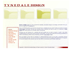 Screenshot of the Tynedale Design homepage