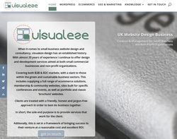 Screenshot of the Visualeze Design homepage