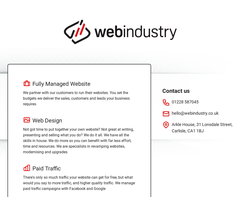 Screenshot of the Webindustry homepage