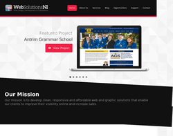 Screenshot of the Web Solutions NI Ltd homepage