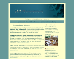 Screenshot of the Zest Leisure Web Designers homepage