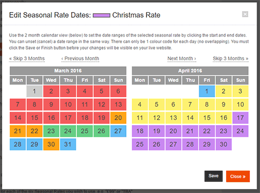 Edit Seasonal Dates