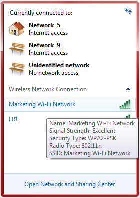 Wireless Network Connection window